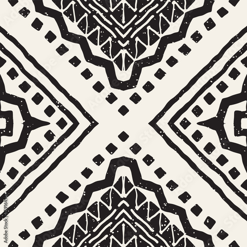 Black and white tribal vector seamless pattern with doodle elements. Aztec abstract art print. Ethnic ornamental hand drawn backdrop. - 159164961