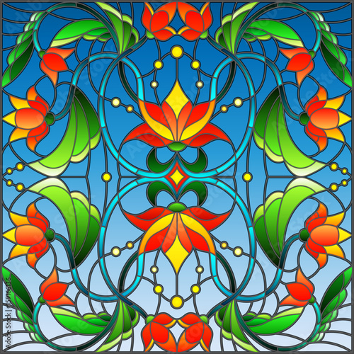 illustration-in-stained-glass-style-with-abstract-swirls-flowers-and-leaves-on-a-blue-background