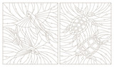 Set contour illustrations of stained glass turtles and flying fishes on the background of water and air bubble - 159166358