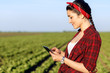 Female farmer standing in a field with tablet and examining crop.