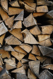 natural firewood stack rustic background, chopped wood