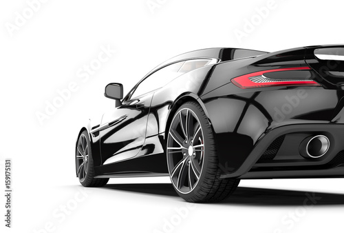 Czarny sportowy samochód odizolowywający na białym tle