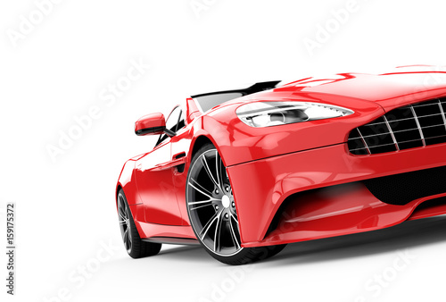 Fototapeta Red luxury car isolated on a white background