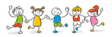 Fototapety Strichfiguren Kinder bunt