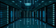 Dark server room data center storage 3D rendering - 159177552