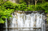 Close up of decorated waterfall in the garden