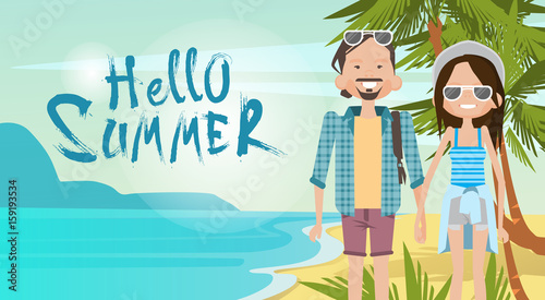 Papiers peints Turquoise Couple On Beach Hello Summer Vacation Tropical Seaside Ocean View Flat Vector Illustration