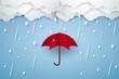Umbrella with heavy rain , rainy season , paper art style