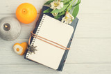 Open blank planner, top view with lit candles - 159201347