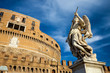 Quadro Angel holding a spear at Holy Angel Castle (Castel Sant'Angelo) in Rome, Italy. Rome architecture and landmark. Holy Angel Castle is one of the main attractions of Rome and Italy.