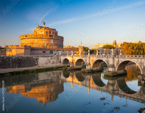 Staande foto Rome Holy Angel Castle at sunset, Rome, Italy, Europe. Rome ancient tomb of emperor Hadrian. Rome Holy Angel Castle (Castel sant'Angelo) is one fo the best known landmark of Rome and Italy.