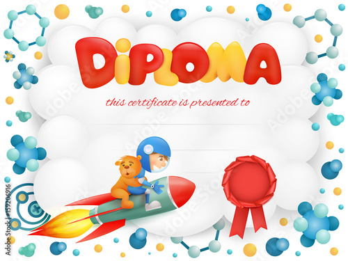 Diploma template certificate with spaceman boy and teddy bear