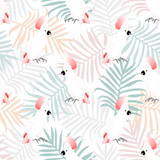 Tropical seamless pattern with beauty parrots and leafs.Summer vector exotic background.Textile texture