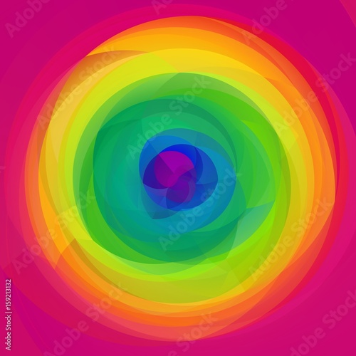 abstract modern art geometric swirl background - full spectrum rainbow colored - hot pink © ardely