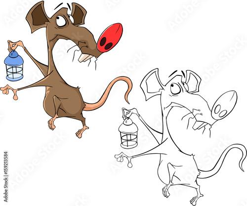 Papiers peints Chambre bébé Illustration of a Cute Rat. Cartoon Character. Coloring Book