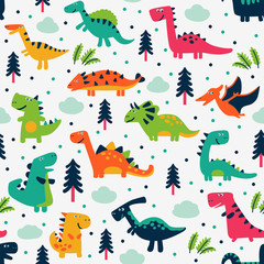 Adorable seamless pattern with funny dinosaurs and trees