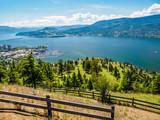 Kelowna, British Columbia, Canada, on the Okanagan lake, city view from mountain overlook