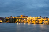 Charles bridge (Karluv Most) at the dusk. Czech Republic