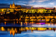 Prague Castle after sunset. Europe, Czech republic.