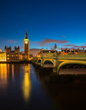 View of the Houses of Parliament and Westminster Bridge in London at night