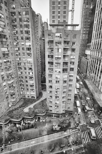 Rainy Broadway from above, Columbus Circle neighborhood, New York City, USA.