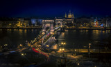 The Chain Bridge at night in Budapest with long exposure