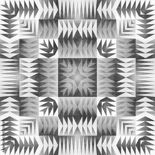 Monochrome Tribal Seamless Pattern. Aztec Style Abstract Geometric Art Print. - 159236569