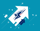 Growth. Businessman flying and arrows. Concept business vector illustration. - 159239307