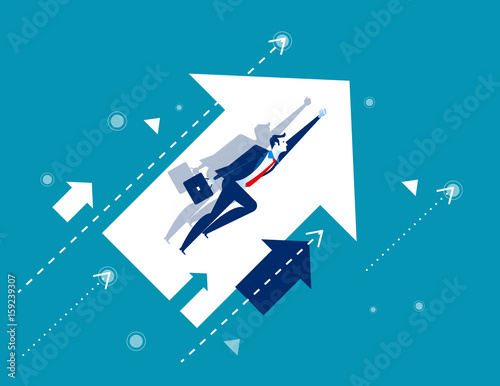 Fototapeta Growth. Businessman flying and arrows. Concept business vector illustration.