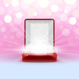 Open jewelry box with glowing from inside
