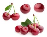 cherry isolated on white. set