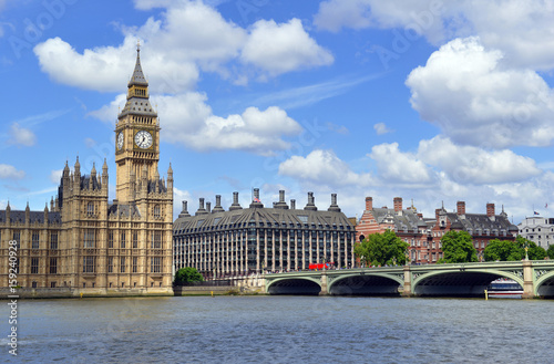Fotobehang Londen Big Ben clock tower, also known as Elizabeth Tower is near Westminster Palace and Houses of Parliament on the Thames River in London has become a symbol of England and Brexit discussions