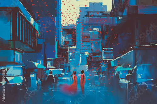 couple in red standing in blue city with digital art style, illustration painting © grandfailure