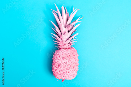 Pink pineapple on a blue background - 159247547