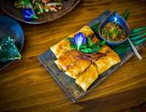 Modern Thai food beautifully decorated.