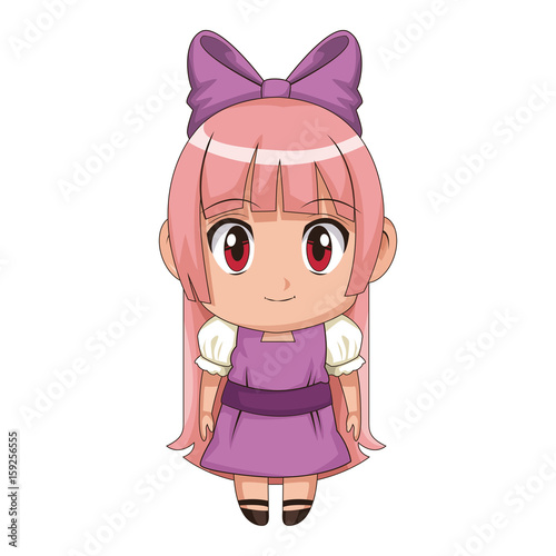cute anime chibi little girl cartoon style vector illustration - 159256555