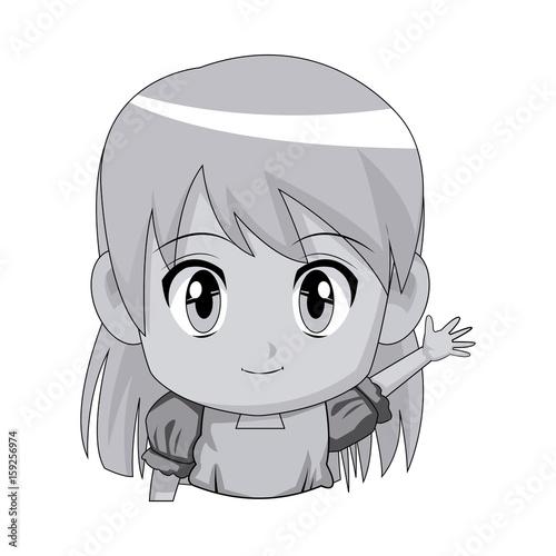 cute cartoon anime little girl chibi character vector illustration - 159256974