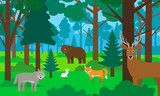 beautiful forest landscape with animals