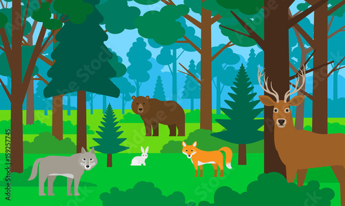 Fotobehang Zoo beautiful forest landscape with animals