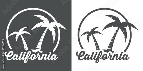 Icono plano California gris y blanco