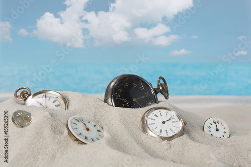 Clocks on the beach Poster