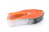 salmon steak close-up isolated on white background