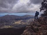 Hiker in the Tramuntana mountains, Mallorca, Spain