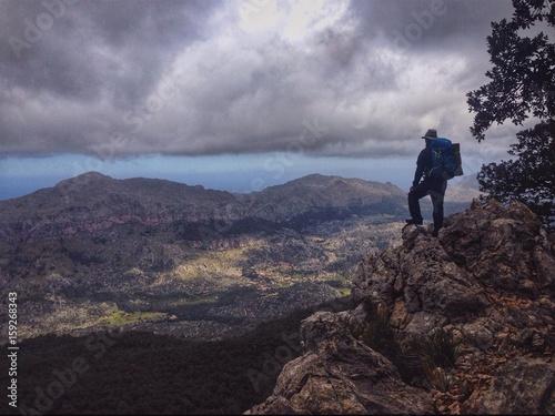 Hiker in the Tramuntana mountains, Mallorca, Spain Poster