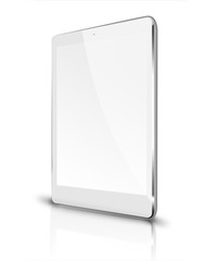 Realistic tablet computer with blank screen and reflection isolated on white background. 3D illustration.
