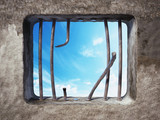 Prison cell with broken prison bars on the window. 3D illustration - 159270914