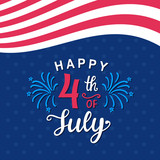 Fourth of July hand written ink lettering - 159275393