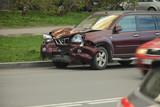 Car crash after head-on on the roadside