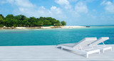 Beach lounge with sundeck and sea view- 3D render