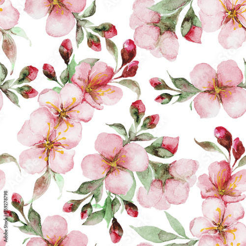 Stoffe zum Nähen Muster von Aquarell Sakura Blumen